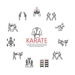 Karate line icons set. Vector sports signs.