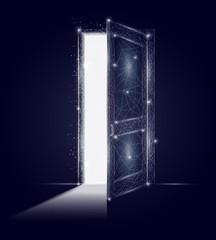 Open door vector geometric polygonal art background