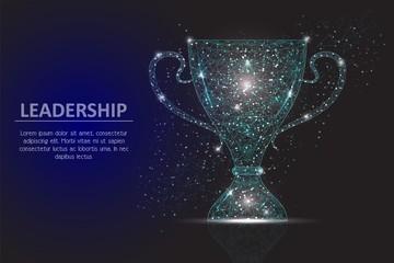 Leadership winner cup vector geometric polygonal background