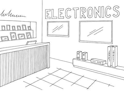 Electronics store interior graphic black white sketch illustration vector