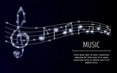 Treble clef musical notes vector polygonal background