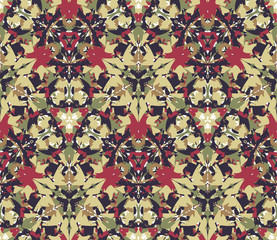 Kaleidoscope seamless pattern, background. Composed of colored abstract shapes. Useful as design element for texture and artistic compositions.