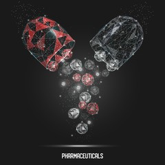Pharmaceutical capsule vector geometric polygonal art background