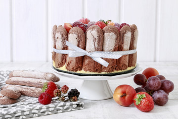 French charlotte cake with summer fruits.