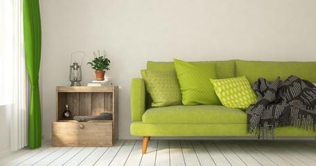 Mock up of white minimalist room with sofa. Scandinavian interior design. 3D illustration
