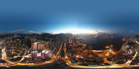 Fotobehang Aziatische Plekken 360 Aerial view panorama cityscape of Hong Kong, China