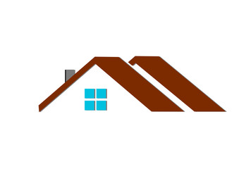 Flat design of the house - roof and bricks. Vector illustration.