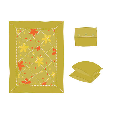 Baby yellow blanket, decorated with flowers and stitching, and three pillows