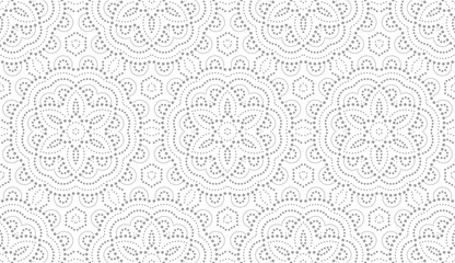 Flower geometric pattern. Seamless vector background. White and grey ornament. Ornament for fabric, wallpaper, packaging, Decorative print.