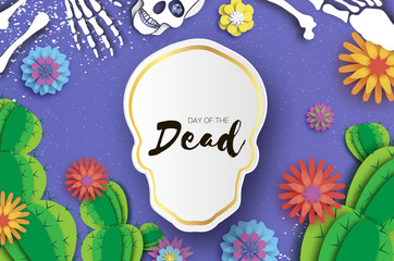 Day of the dead. Paper cut skull for mexican celebration. Traditional mexico skeleton. Dia de muertos. Mexican holiday. Purple. Origami flower,cactus. Skull frame for text.