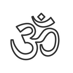 Om symbol thin line icon. Vector calligraphic illustration. Yoga hindu symbol.