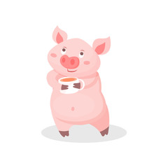 Funny pig drinking tea, cute little piglet cartoon character holding tea cup vector Illustration on a white background