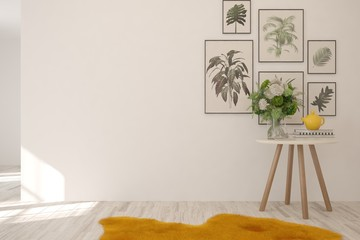 Mock up fo white empty room with table and frames on a wall. Scandinavian interior design. 3D illustration