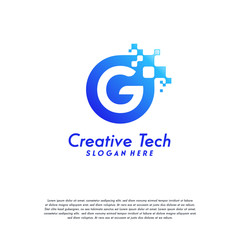 Pixel G Letter Logo designs, Letter G Design Vector Template with Abstract Circle Pixel