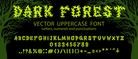 "Vector font ""Dark forest"" inspired by death metal music culture. Letters, numerals and punctuations. Good for digital lettering, branding materials, t-shirt, print, logo, poster, flyer, album."