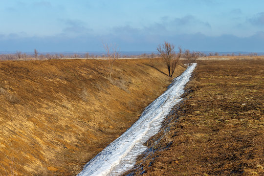 The dry irrigation ditch without water in the early springtime