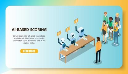 AI-based scoring model concept vector isometric illustration