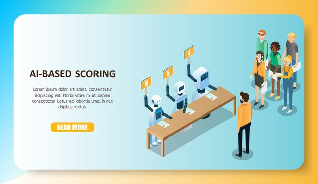AI-based scoring model concept vector isometric illustration