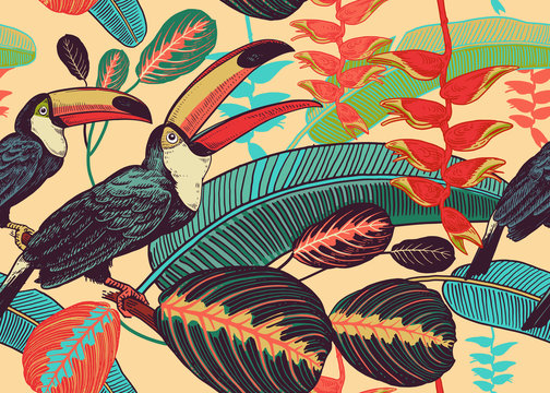 Floral seamless pattern with birds toucans and tropical leaves and flowers.