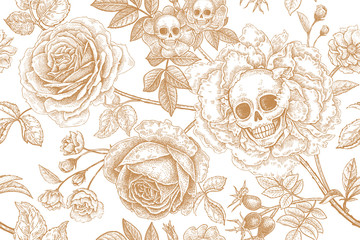 Floral seamless pattern with symbols of day dead. Skulls, blooming rose flowers and foliage.