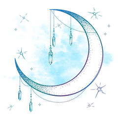 Blue crescent moon with moonstone gem pendants and stars vector illustration. Hand drawn boho style art print poster design, astrology, alchemy, magic symbol over abstract watercolor background.