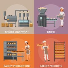 Bakery vector flat style design poster banner set
