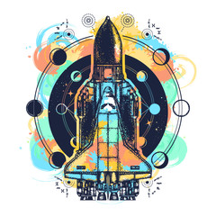 Space shuttle tattoo art watercolor splashes style. Symbol of space research, the flight to new galaxies. Space ship taking off on mission t-shirt design