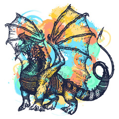 Dragon tattoo art watercolor splashes style. Symbol force, fantasy, fairy tale. Strong dragon with celtic ornament t-shirt design