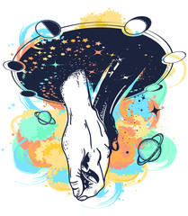 Black and white hands in space tattoo watercolor splashes style. Symbol of tolerance, friendship, multiculturalism, love, t-shirt design. Taking hands with love