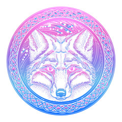 Symbol of a travel, freedom, tourism. Fox against the background of Universe tattoo art. Ethnic style t-shirt design