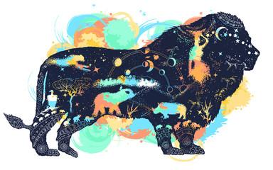 Lion double exposure watercolor splashes style tattoo art and t-shirt design Symbol of Africa, travel, adventure, wild animals, safari