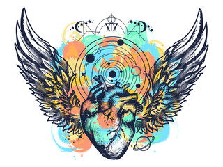 Heart and wings in space tattoo watercolor splashes style. Symbol of love, philosophy, psychology, imagination, dream. Surreal heart t-shirt