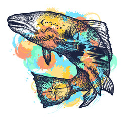 Trout double exposure tattoo art and t-shirt design watercolor splashes style. Symbol of fishing, tourism, wild nature, outdoor, travel. Salmon double exposure art