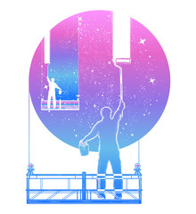 People clean Universe, workers washing windows t-shirt design. Symbol of clarification, psychology, creative art. Window cleaners wash universe, surreal tattoo
