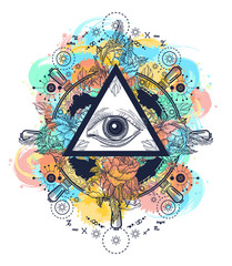 All seeing eye pyramid tattoo art watercolor splashes style. Freemason and spiritual symbols. Alchemy, medieval religion, occultism, spirituality and esoteric art. Magic eye t-shirt design