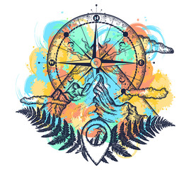 Mountains and compass tattoo watercolor splashes style. Symbol of tourism, rock climbing, camping. Mountain top and vintage compass t-shirt design