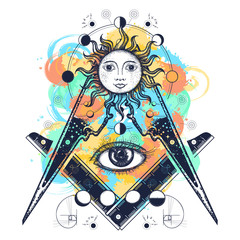 Masonic symbol watercolor splashes style tattoo and t-shirt design. All seeing eye. Alchemy, medieval religion, occultism, spirituality and esoteric art