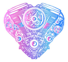 Mechanical heart tattoo. Heart explosion engine t-shirt design