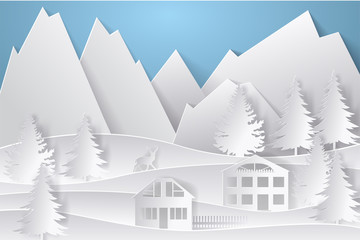 Winter landscape in paper style. Mountains, trees and houses. Layered cut out paper postcard. Vector illustration