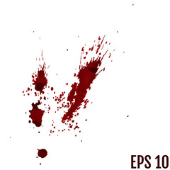 Dripping blood isolated on white. Vector Set of different blood splashes, drops and trail. Dripping blood seamless repeatable. Halloween concept : Blood dripping. Blood on white background.