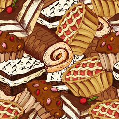 Seamless pattern with desserts. Hand drawn pancakes and buns. Vector illustration for your design