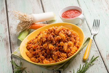 fusilli with bolognese ragout sauce