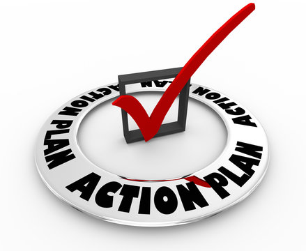 Action Plan Strategy Tactics Mission Goal Check Mark Box Word 3d Illustration