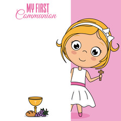 my first communion girl. Cute girl with cross in her hand. Space for text