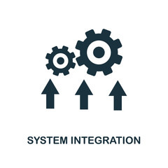 System Integration icon. Monochrome style design from industry 4.0 icon collection. UI and UX. Pixel perfect system integration icon. For web design, apps, software, print usage.