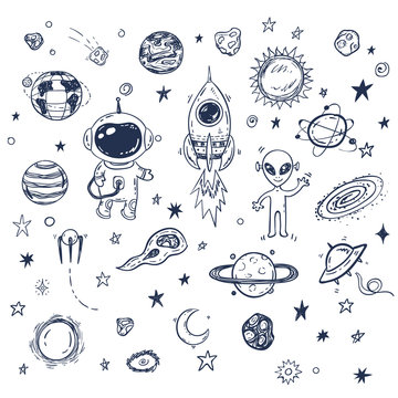 Doodle space travel vector set with rocket, astronaut, alien, planets, stars. Hand drawn print or poster, elements