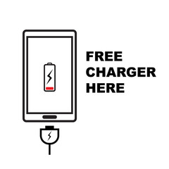free phone charger icon on white background