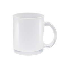 Transparent mug on isolated background with clipping path. Clear drink cup for your design.