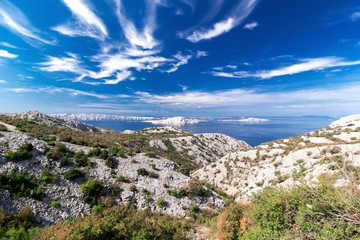 View of the sea, islands and clouds in Croatia