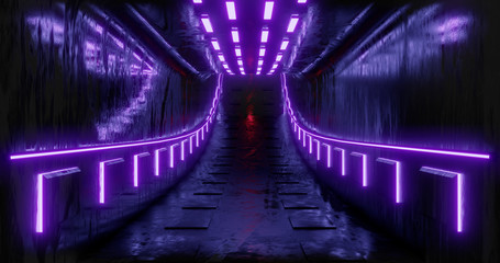 3D rendering illustration. Sci-Fi futuristic abstract gradient blue violet pink neon. A glowing corridor on the reflection of the concrete floor. A dark interior room.